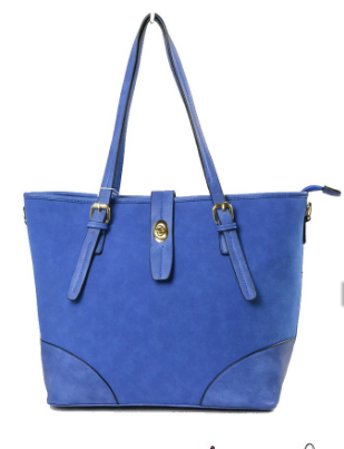 Brea-Large Suede Blue Tote Bag