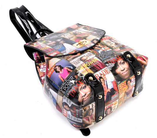 Michelle Obama Magazine Cover Collage Backpack & Wallet Set (Color)