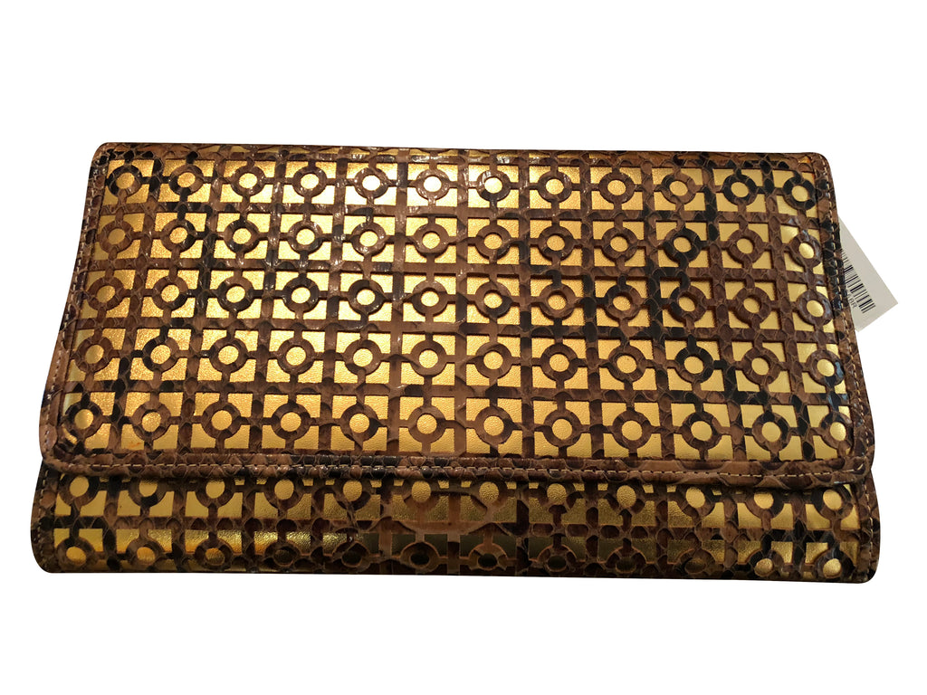 Stacey (Brown and Gold Flap Closure Clutch)