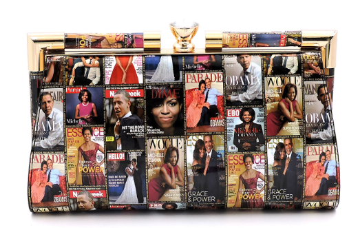 Michelle Obama Magazine Cover Push Lock Closure Clutch