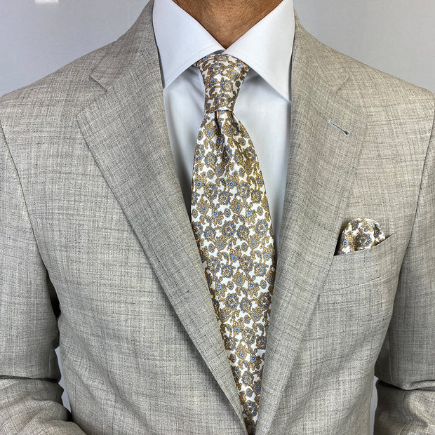 White with Gold & Light Blue Paisley