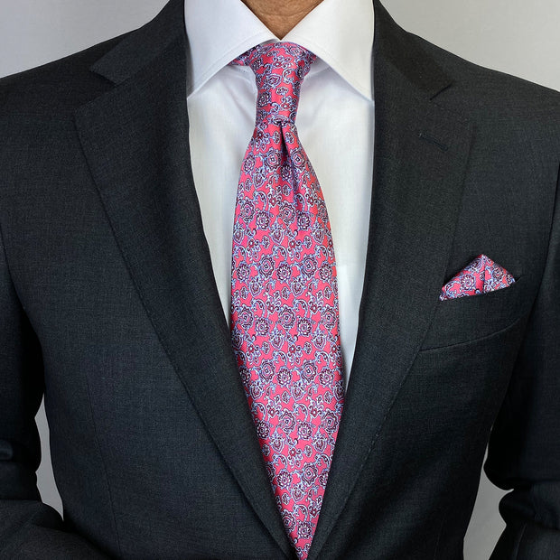Royal Pink With Grey Paisley