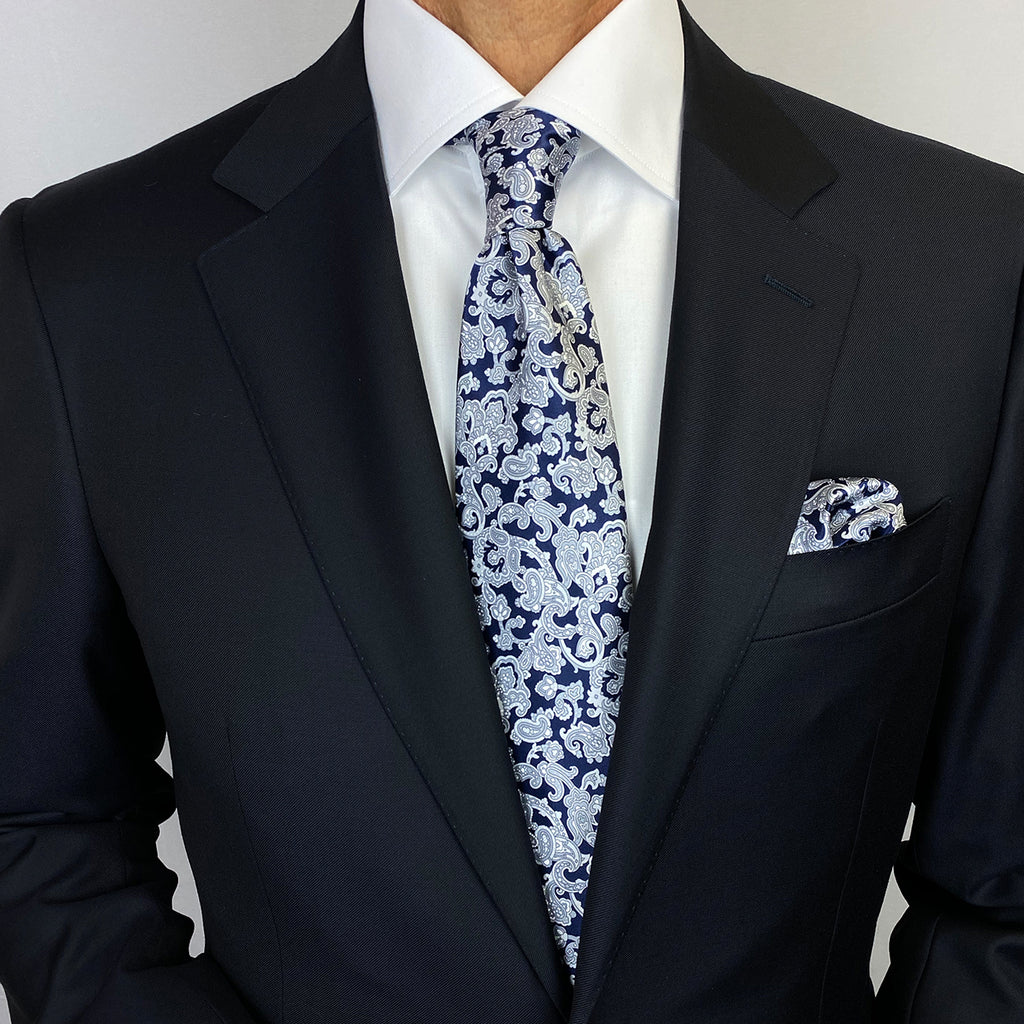 Midnight Navy Blue with Grey Paisley