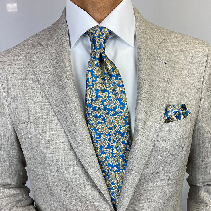 Royal Blue with Gold Paisley