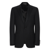 Black Wool Tuxedo With Silk Peak Lapels