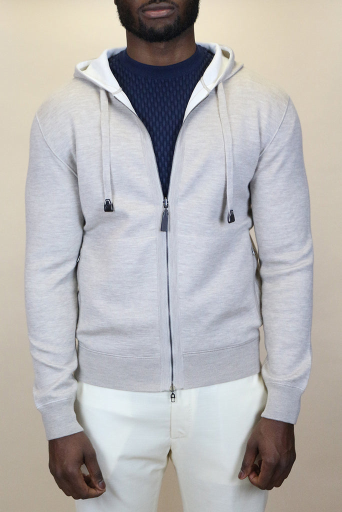 Beige and ivory white cashmere hoody