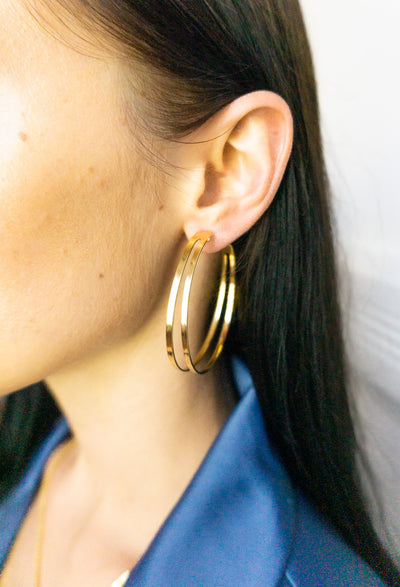 Carly Gold Double Hoops