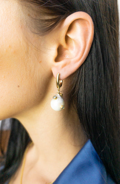 Keiko Gold Abstract Pearl Earrings