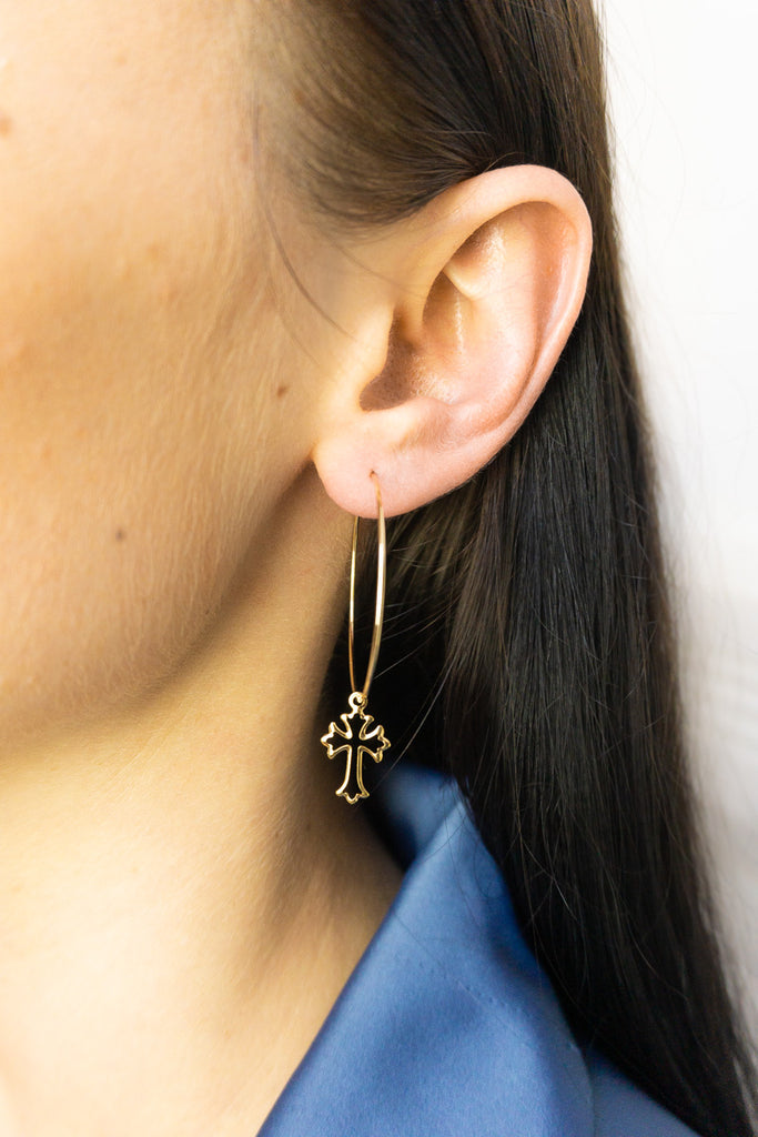 Sophia Cross Hoop Earrings