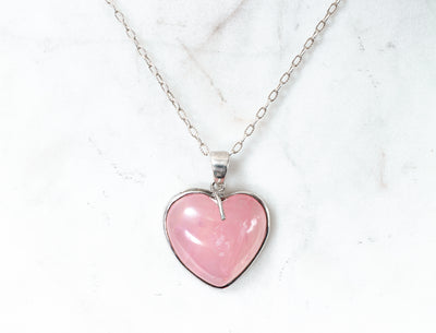 Hebe Heart Necklace - Rose Quartz