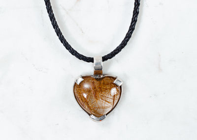 Zoe Heart Pendant - Rutiled Quartz
