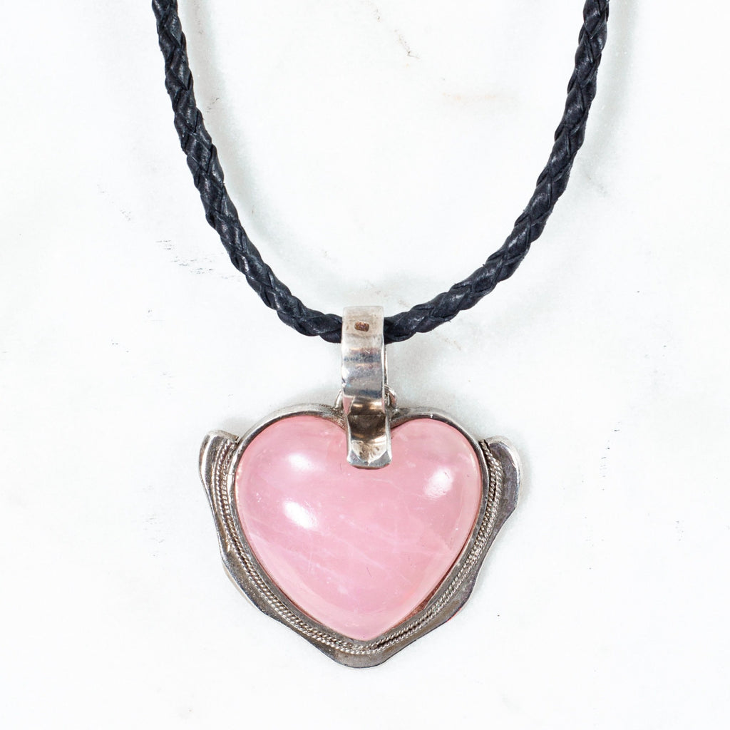 Zara Heart Pendant - Rose Quartz