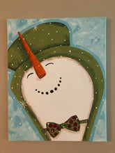 Load image into Gallery viewer, Sunday November 10 Snowman with a Top Hat Painting Class