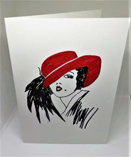 Load image into Gallery viewer, Lady in the Red Hat Greeting Card
