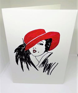 Lady in the Red Hat Greeting Card