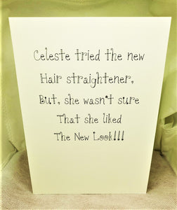Celeste and the Hair Straightener Greeting Card