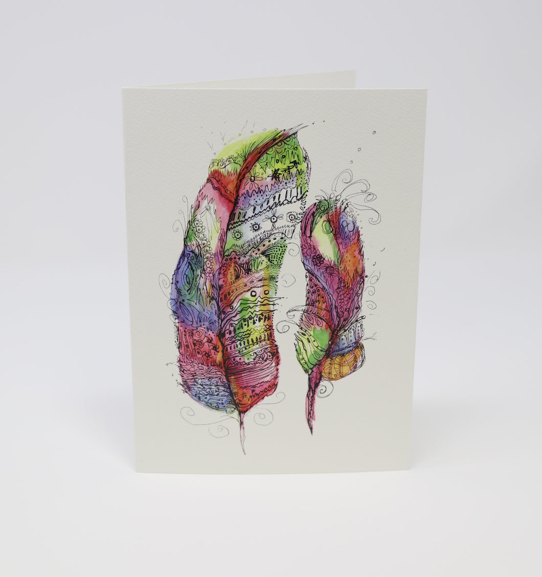Colorful Feathers Greeting Card