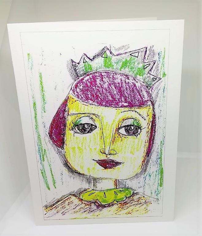 Girl with the Red Hair and a Green Crown Greeting Card