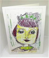 Load image into Gallery viewer, Girl with the Red Hair and a Green Crown Greeting Card