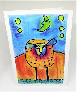 Little Lamb Under the Moon Greeting Card