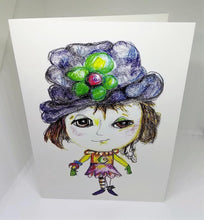 Load image into Gallery viewer, Little Girl with the Big Blue Hat Greeting Card