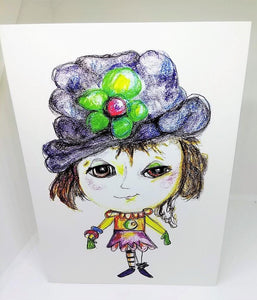 Little Girl with the Big Blue Hat Greeting Card