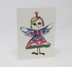 Little Princess with a Crown and Wings Greeting Card