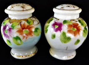 Vintage Porcelain Salt and Pepper Shakers with Handpainted Flowers