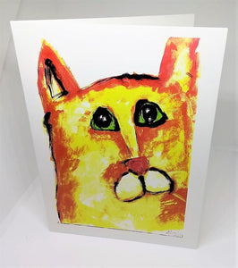 Yellow Cat with Bright Green Eyes Greeting Card