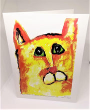 Load image into Gallery viewer, Yellow Cat with Bright Green Eyes Greeting Card