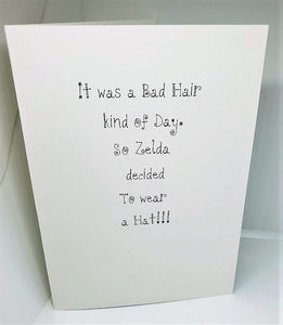 Zelda and Her Bad Hair Day Just Us Chicks Greeting Card