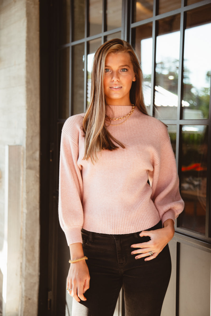Nude Pink Mock Neck Sweater