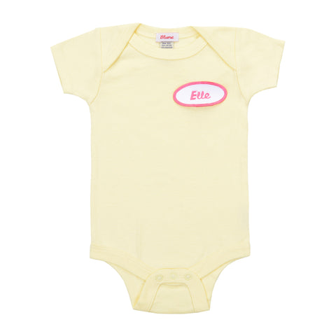 BABY - Personalized One Piece - Short Sleeve - Yellow