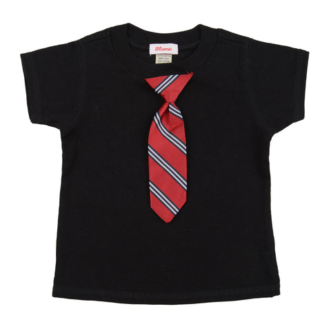 BABY - Little Man Tie Tee - Short Sleeve - Black