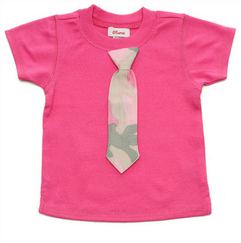 KID Little Lady Tie Tee - Short Sleeve - Hot Pink