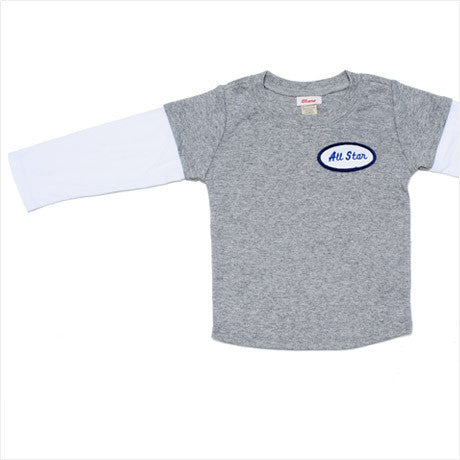 KID - Personalized Layered Tee - Long Sleeve - Heather Gray