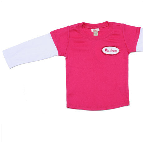 KID - Personalized Layered Tee - Long Sleeve - Hot Pink