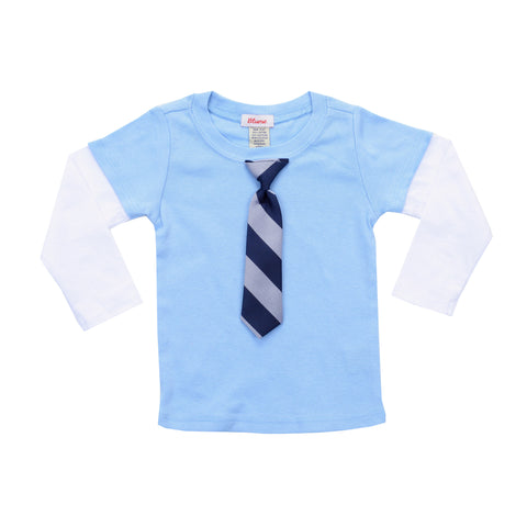 BABY - Little Man Layered Tee - Baby Blue