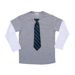 KID - Little Man Layered Tee - Long Sleeve - Heather Gray