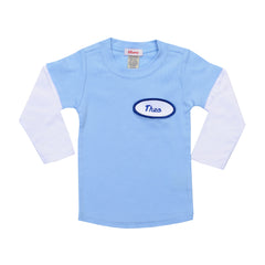 BABY - Personalized Layered Tee - Long Sleeve - Baby Blue