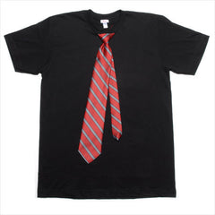 Black shirt w/ Red stripe tie