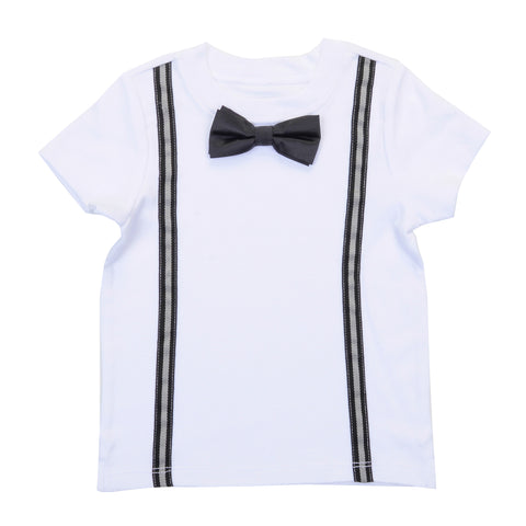 BABY - Preppy Boy Suspender Tee With Bow Tie - Short Sleeve - White