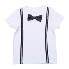 KID - Preppy Boy Suspender Tee With Bow Tie - Short Sleeve - White