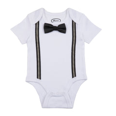 BABY - Preppy Boy Suspender One Piece With Bow Tie - White