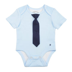 BABY - Little Man Tie One Piece - Short Sleeve - Powder Blue Gingham