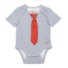 BABY - Little Man Tie One Piece - Short Sleeve - Navy Stripe