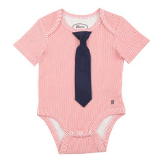 BABY - Little Man Tie One Piece - Short Sleeve - Red Stripe