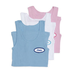 Womens Tank in Blue, White and Pink with customized name patch