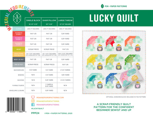 PRINTED Lucky Quilt Pattern