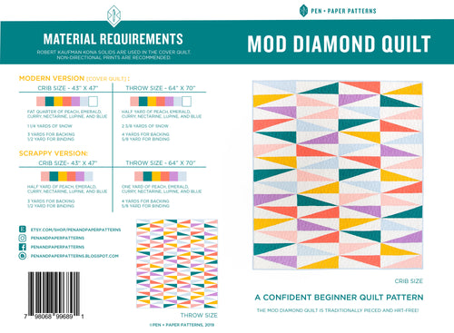 PRINTED Mod Diamond Quilt Pattern